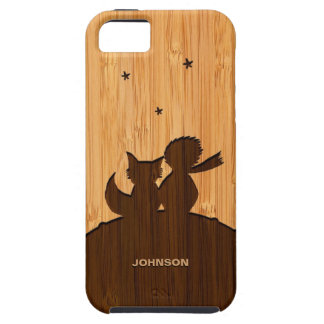Bamboo Look & Engraved Little Prince with Fox Tough iPhone 5 Case