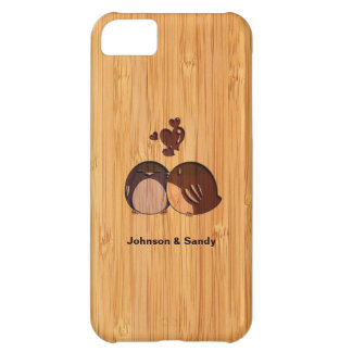 Bamboo Look Engraved Love Birds Valentine's Day Cover For iPhone 5C
