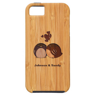Bamboo Look Engraved Love Birds Valentine's Day iPhone 5 Cases