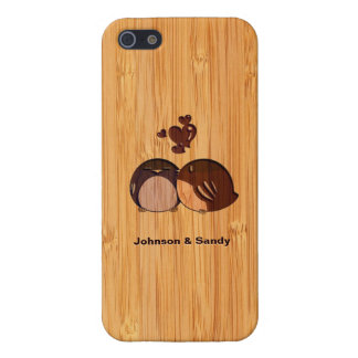 Bamboo Look Engraved Love Birds Valentine's Day Covers For iPhone 5