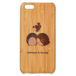 Bamboo Look Engraved Love Birds Valentine's Day iPhone 5C Covers