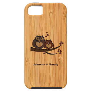 Bamboo Look Engraved Love Owl Valentine's Day iPhone 5 Covers