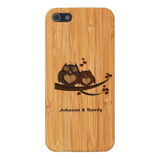 Bamboo Look Engraved Love Owl Valentine's Day iPhone 5 Case