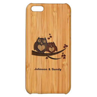 Bamboo Look Engraved Love Owl Valentine's Day iPhone 5C Covers