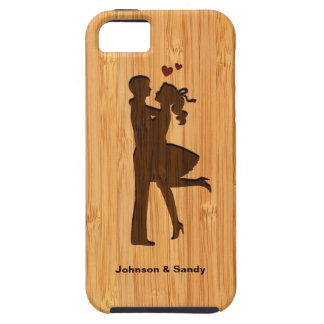Bamboo Look Engraved Lovely Couple Valentine's Day iPhone 5 Covers
