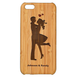 Bamboo Look Engraved Lovely Couple Valentine's Day iPhone 5C Cover