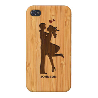 Bamboo Look Engraved Lovely Couple Valentine's Day iPhone 4 Cases