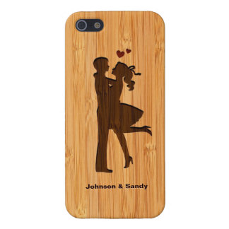 Bamboo Look Engraved Lovely Couple Valentine's Day iPhone 5 Case