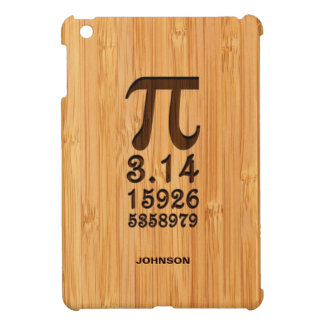 Bamboo Look & Engraved Pi Numbers iPad Mini Case