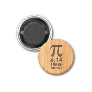 Bamboo Look & Engraved Pi Numbers 3 Cm Round Magnet