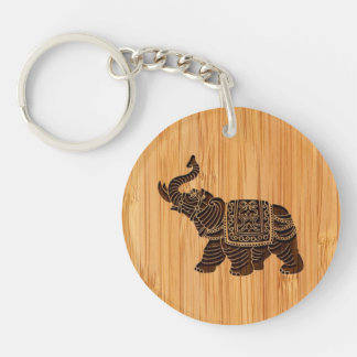 Bamboo Look & Engraved Retro Thai Elephant Double-Sided Round Acrylic Key Ring