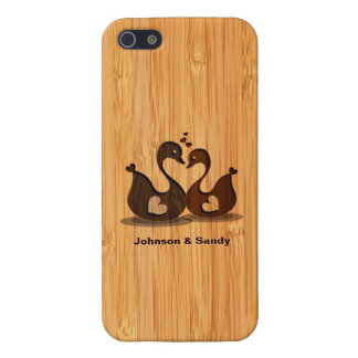 Bamboo Look Engraved Swan Heart Valentine's Day iPhone 5 Covers