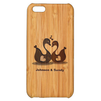 Bamboo Look Engraved Swan Heart Valentine's Day iPhone 5C Cases
