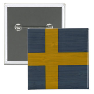 Bamboo Look & Engraved Sweden Swedish Sverige Flag 15 Cm Square Badge