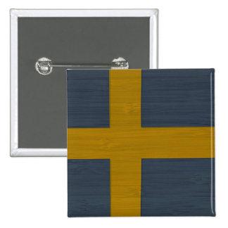 Bamboo Look Engraved Sweden Swedish Sverige Flag Pins