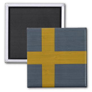 Bamboo Look & Engraved Sweden Swedish Sverige Flag Square Magnet