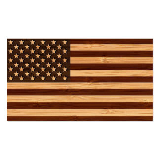Bamboo Look & Engraved Vintage American USA Flag Business Card Templates