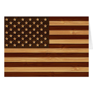 Bamboo Look & Engraved Vintage American USA Flag Card