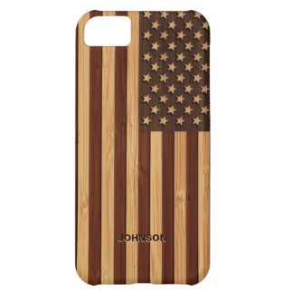 Bamboo Look & Engraved Vintage American USA Flag iPhone 5C Case