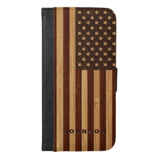 Bamboo Look & Engraved Vintage American USA Flag iPhone 6/6s Plus Wallet Case