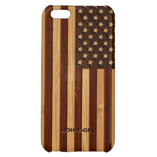 Bamboo Look & Engraved Vintage American USA Flag iPhone 5C Cover