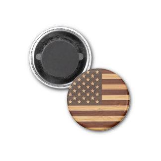 Bamboo Look & Engraved Vintage American USA Flag Refrigerator Magnet
