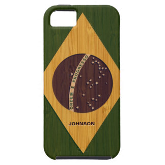 Bamboo Look & Engraved Vintage Brazil Flag Case For The iPhone 5