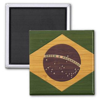 Bamboo Look & Engraved Vintage Brazil Flag Square Magnet