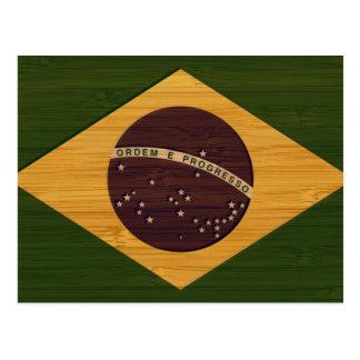 Bamboo Look & Engraved Vintage Brazil Flag Postcard