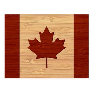 Bamboo Look & Engraved Vintage Canada Flag Postcard