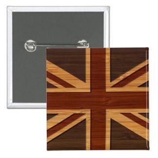 Bamboo Look & Engraved Vintage UK Flag Union Jack 15 Cm Square Badge