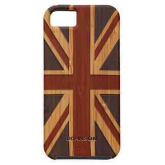Bamboo Look & Engraved Vintage UK Flag Union Jack iPhone 5 Case