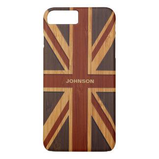 Bamboo Look & Engraved Vintage UK Flag Union Jack iPhone 8 Plus/7 Plus Case