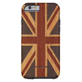 Bamboo Look Engraved Vintage UK Flag Union Jack iPhone 6 Case