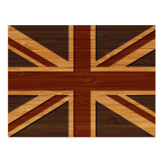 Bamboo Look & Engraved Vintage UK Flag Union Jack Postcard