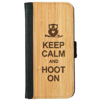Bamboo Look Keep Calm and Hoot On Owl iPhone 6 Wallet Case
