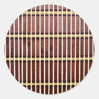 bamboo mat texture classic round sticker