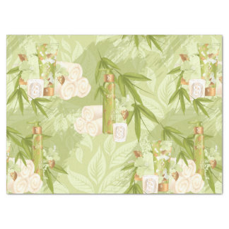 Bamboo olive green gold spa tissue paper