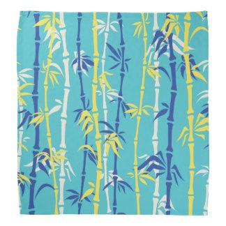 Bamboo pattern turquoise, blue, yellow custom bandana