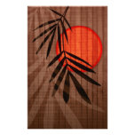Bamboo & Red Moon Tropical Customised Template Personalized Stationery