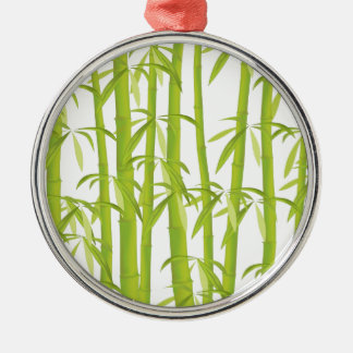 Bamboo Silver-Colored Round Decoration