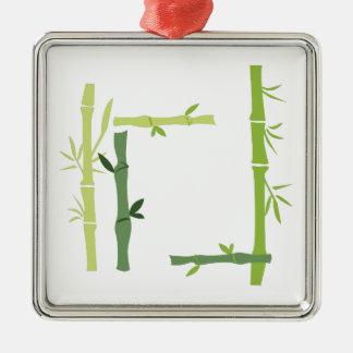 Bamboo Silver-Colored Square Decoration