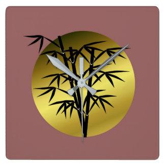 bamboo square wall clock