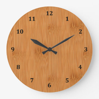 Bamboo Toast Wood Grain Look Large Clock