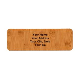 Bamboo Toast Wood Grain Look Return Address Label