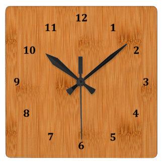 Bamboo Toast Wood Grain Look Square Wall Clock