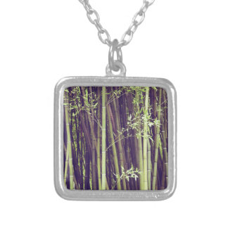Bamboo trees silver plated necklace