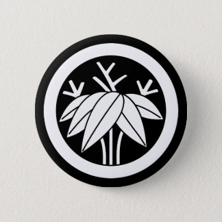 Bamboo with root in circle 6 cm round badge
