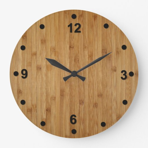 Bamboo Wood Look Clock