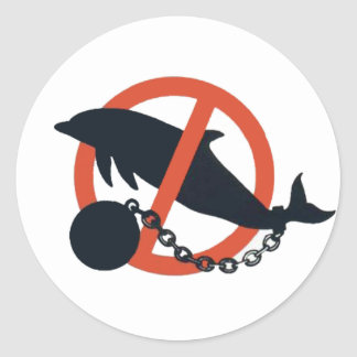 BAN DOLPHIN CAPTIVITY CLASSIC ROUND STICKER